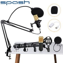 SPASH BM 800 mikrofon pojemnościowy mikrofon Audio mikrofon studyjny nagrywanie głosu KTV mikrofon do Karaoke ze stojakiem na komputer