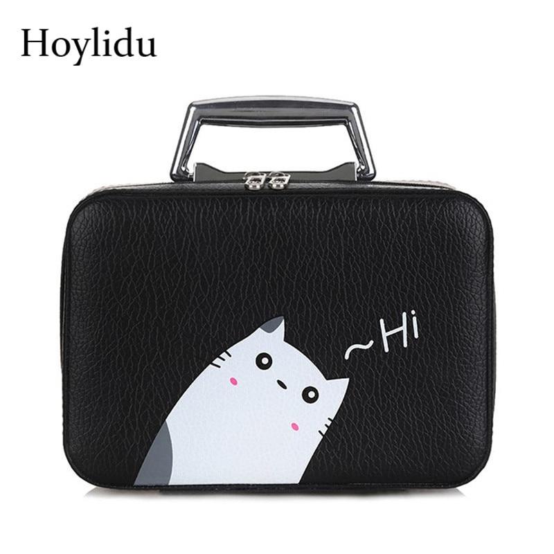 Cartoon Cute Cat Makeup Bag Women Pu