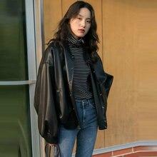 Женская кожаная куртка sougen черные куртки осенне зимнее пальто