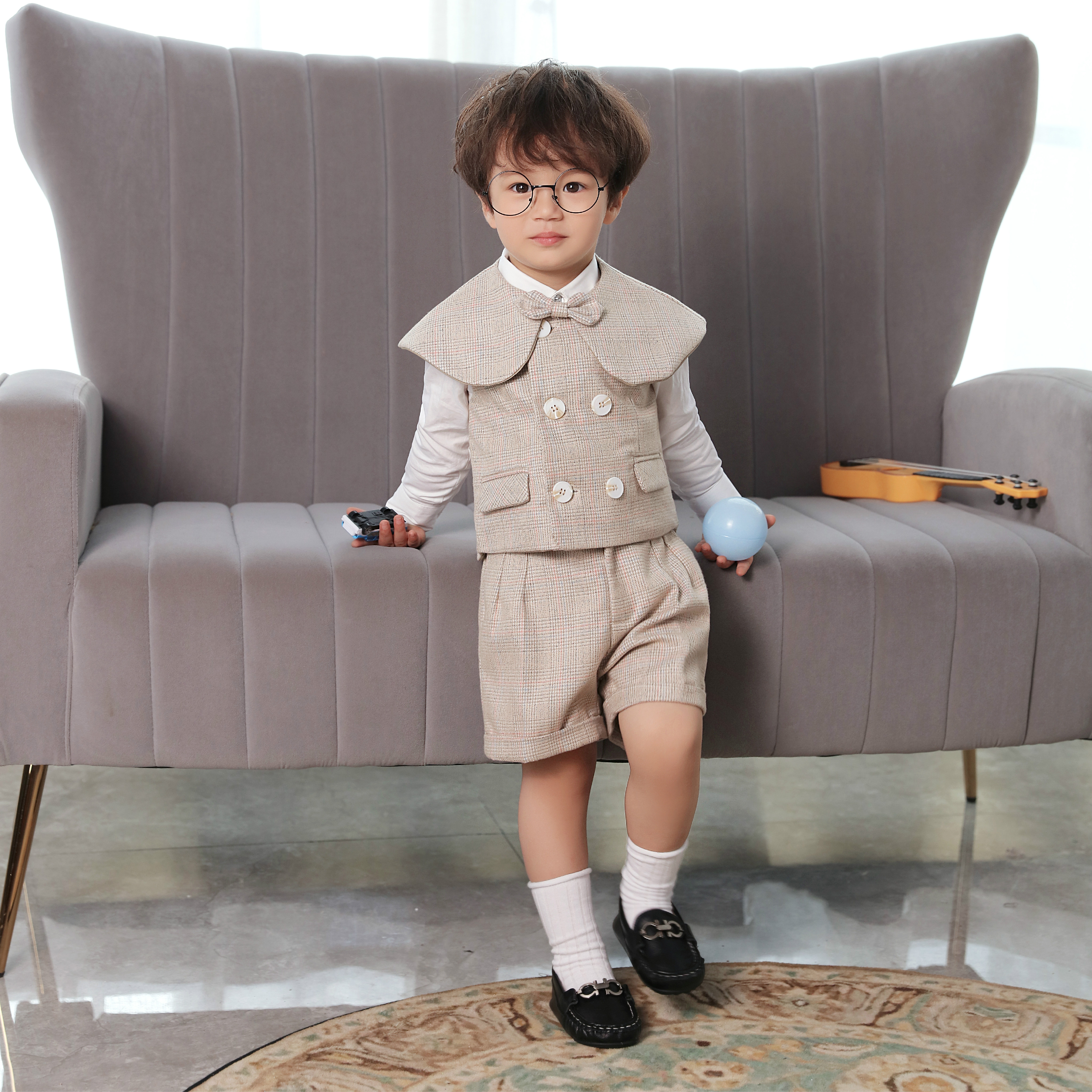 Boy Suits Cotton Baby Boys Suits 2021 Double Breasted vest short Shawl 3pcs Suit sets tuxedo Boy Formal Wedding birthday dress 4