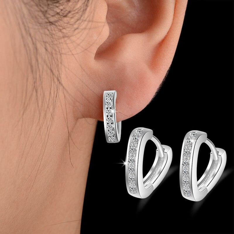 Cute V Infinity Love Heart Earrings For Women 925 Sterling Silver Brinco CZ Rhinestone Stud Earring Girl Jewelry