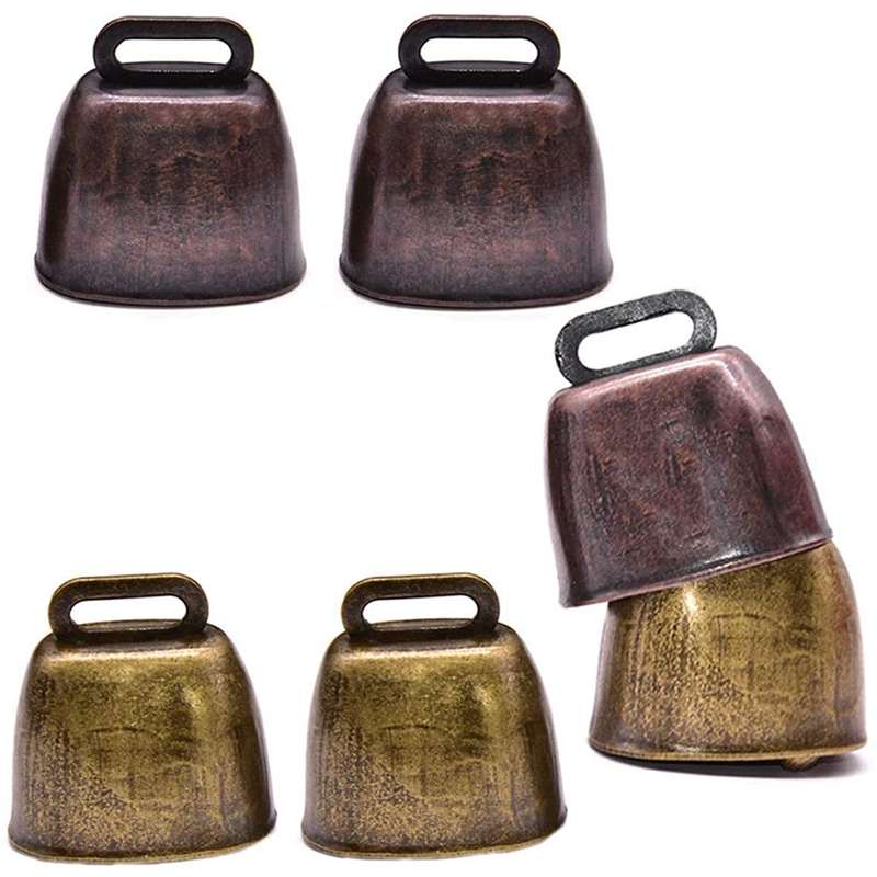 New 6 Pcs Metal Cow Bell, Cowbell Retro Bell for Horse Sheep Grazing Copper, Cow Bells Noise Makers