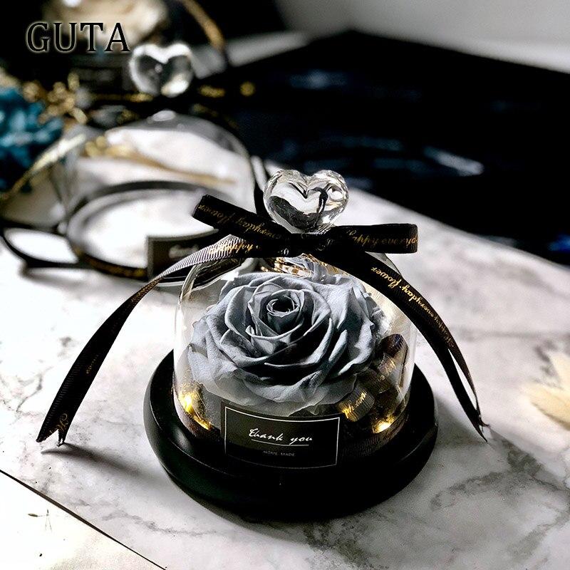 Вечная эксклюзивная Роза в стеклянном куполе Красавица и Чудовище Роза романтические подарки на день Святого Валентина подарок на Рождество подарки на праздник - Цвет: G01-L