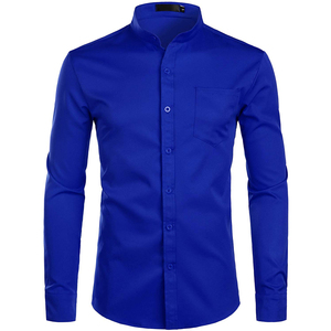 Image 2 - Mens Banded Collar Pink Dress Shirt 2019 Brand New Long Sleeve Casual Button Down Chemise Work Casual Shirt with One Pocket 2XL