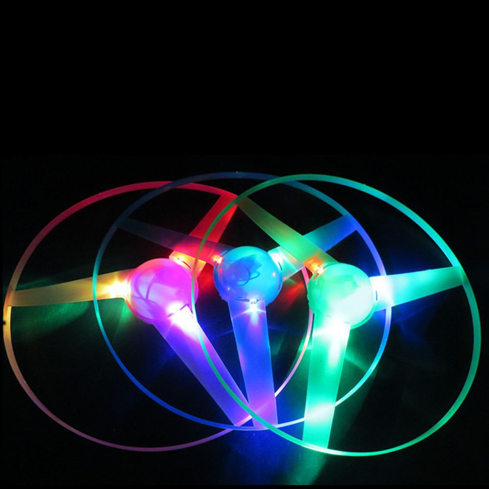 Outdoor Children Toys Funny Colorful Pull String UFO LED Light Up Flying Saucer Disc Kids Toy Interesting LED Light Flash Toys