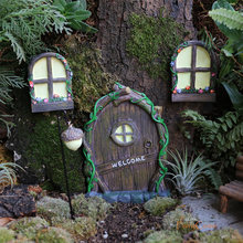 Fairycome fada jardim porta e janelas kit com lâmpada brilho no escuro em miniatura conjunto de porta para árvore jardim ao ar livre ornamento