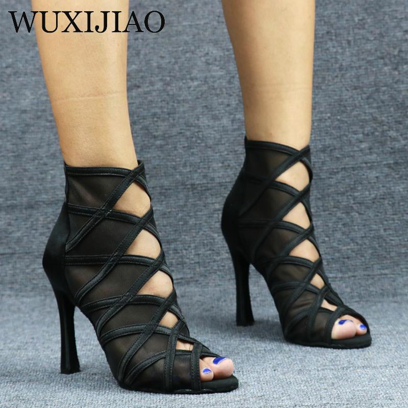 WUXIJIAO Ladies black mesh suede fashion cross strap sexy high heel sandals comfortable latin dance shoes salsa shoes