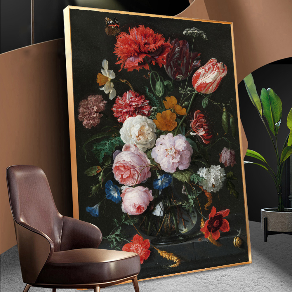 Винтажная Картина на холсте в европейском стиле, декор стен, натюрморт с цветами в стеклянной вазе, скандинавский художественный постер и п...