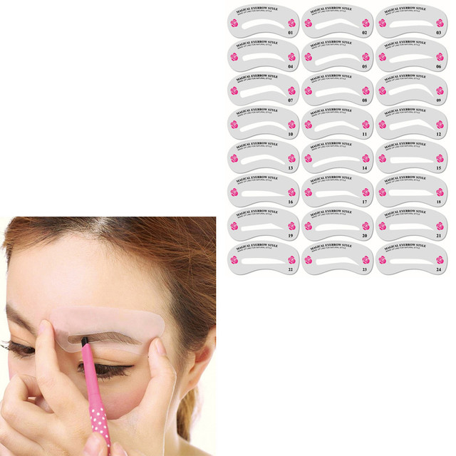 24Pcs/Set Eyebrows Stencil Stickers 24 Styles Eyebrow Shaper Grooming Kit Makeup Template Tool maquillage трафарет для бровей 4