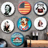 American Style Vintage Round Tin Sign Beer Bottle Cup Decor Bar Dining Hall Home Cafe Wall Metal Art Poster Plaque Iron Painting