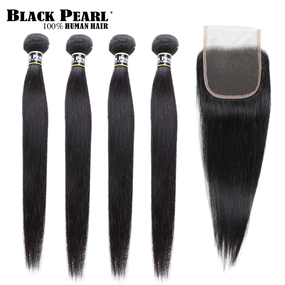 Black Pearl 4 Bundles With Closure Pre-Colored Bundle Pre-Colored Bundle Pack Straight Human Hair Bundles With Closure Non-Remy