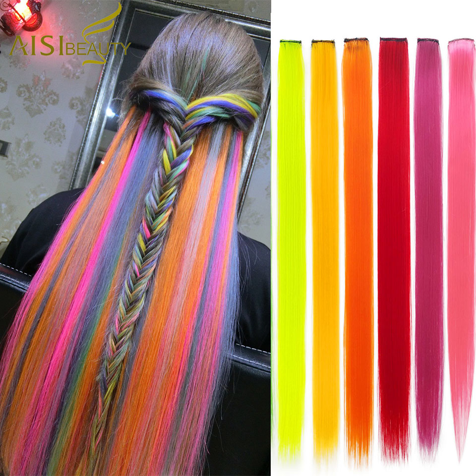 AISIBEAUTY Single Clip In One Piece Hair Extensions Long Straight Rainbow Colors Hair Extension Synthetic Ombre Grey Blonde Pink