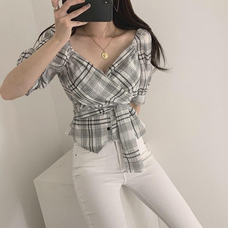 Nice Fall Summer Women Korean Cross-Tie Sashes Casual Shirt V-Neck Puff Sleeves Blouse Puff Sleeve Female Sweet Plaid Shirt