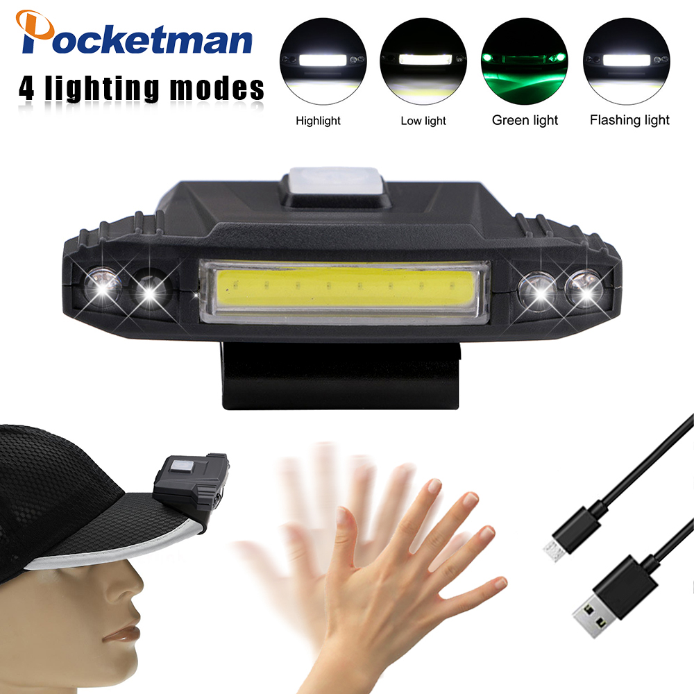 COB headlights 4 modes USB charging cap clip light induction headlights cap clip light caps built-in battery outdoor lighting