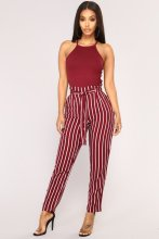 Women  Pants High Waisted Striped Casual  Bow Belted Trousers Office Lady  Pants 2019 Newest Hot  Harem Pants self belted floral peg pants