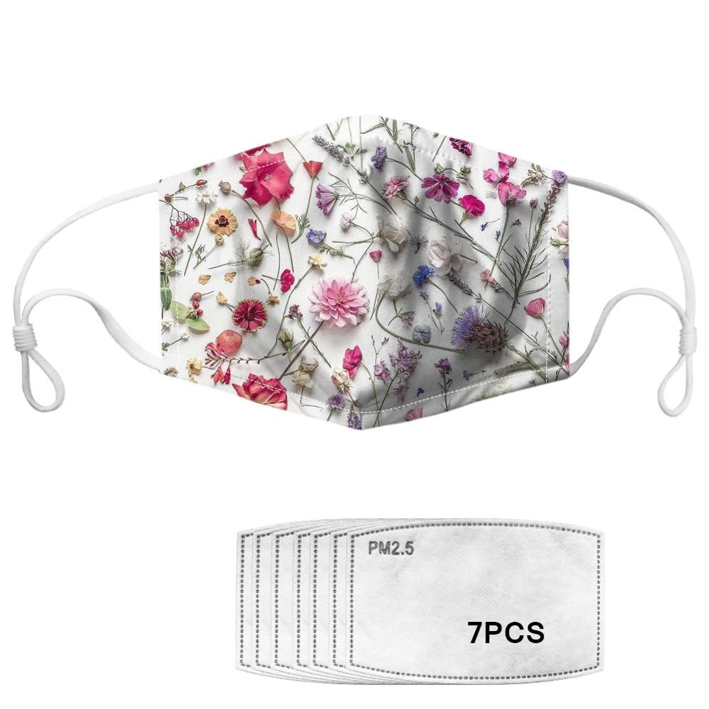 7pcs PM2.5 Filters Women Mask Real Dried Flower Pattern Adults Reusable Anti- Dust Mask Windproof Anti Haze Smog Mask