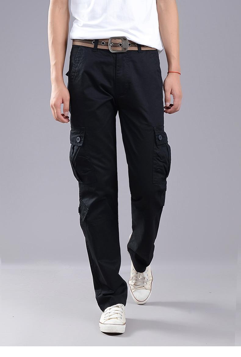 KSTUN Cargo Pants Men Combat Army Military Pants 100% Cotton 4 Colors Multi-Pockets Flexible Man Casual Trousers Overalls Plus Size 38 23