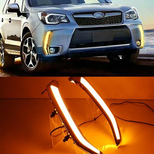 Car Flashing 2Pcs LED Daytime Running Light DRL Turn siganl with night blue for Subaru Forester 2013 2014 2015 2016 2017 2018