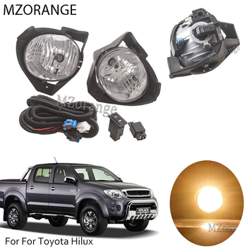 цена на Fog Light Lamp For Toyota Hilux 2008 2009 2010 2011 Replacement Front Bumper Fog Light Lamp Kit With Harness Bulb Switch Styling