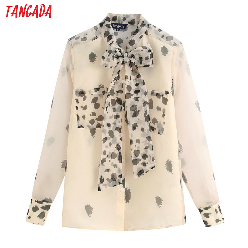 Tangada Women Chic Leopard Print Blouse Organza Bow Tie Neck Long Sleeve 2020 New Female Sexy See Through Shirt Tops BE326