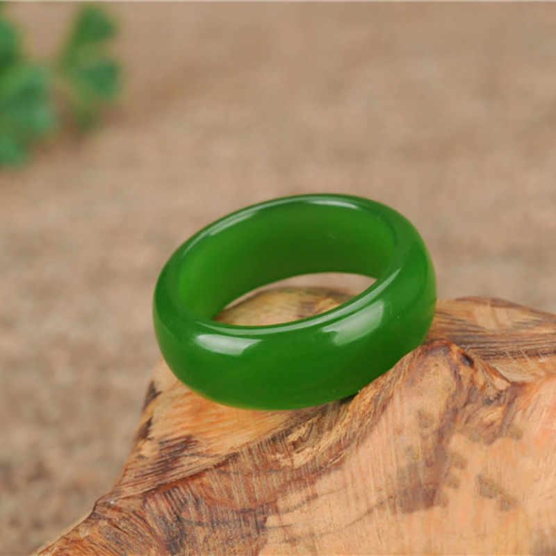 自然の緑和田ヒスイリング中国硬玉お守りファッションチャームジュエリー手彫刻工芸品のギフト男性