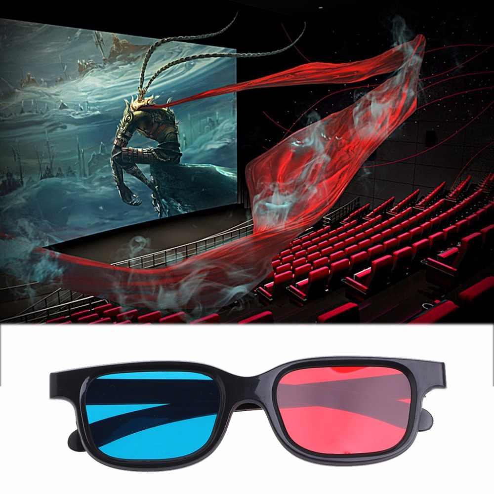 3D gözlük siyah çerçeve kırmızı mavi plastik mavi 3D için anaglif film oyun DVD