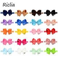 Riclia 20pcs/lot Bowknot Child Hair Accessories Solid Candy Child Headbands Cute Fashion Child Headhair Ribbon Girls Hair Band