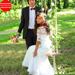 Image 5 - Off the Shoulder Wedding Dresses Mermaid vestido de noiva Vintage Lace Up Illusion Back Half Sleeves Lace Bridal Gown Trouwjurk