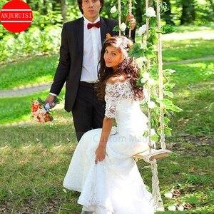 Image 5 - Off the Shoulder suknie ślubne syrenka vestido de noiva koronka w stylu Vintage Up Illusion powrót pół rękawy koronkowa suknia ślubna Trouwjurk