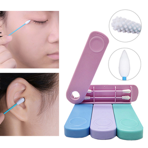 2Pcs Face Ear Cleaning Reusable Cotton Swab Makeup Cosmetic Remove Silicone Buds Swabs Double-headed Silicone Washable Tools