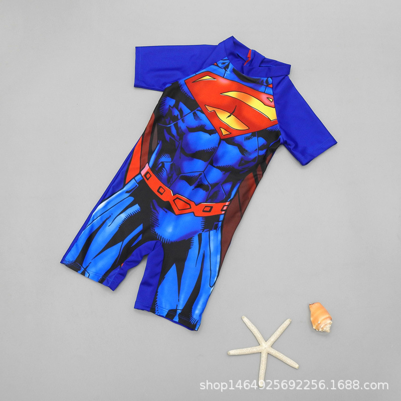 KID'S Swimwear Wen Quan Bao Bao Boy Small Middle And Large BOY'S Quick-Dry Sun-resistant Infant One-piece Swimwear Superman Surf