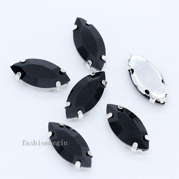 Всех размеров Наветт 24-цветное стекло камень с плоской задней частью, пришить с украшением в виде кристаллов Стразы драгоценные камни бисер с серебряной нитью, бледно-коготь кнопки для одежды аксессуары - Цвет: black