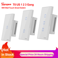 Sonoff TX T0 US 1 2 3 Gang Wifi Switch Smart Home Remote Control Wall Touch Light Timer Switch Works with Alexa Google Home