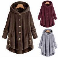 Женское пальто из искусственного меха больших размеров, длинное женское пушистое пальто с капюшоном, пальто из искусственного меха, куртка,...