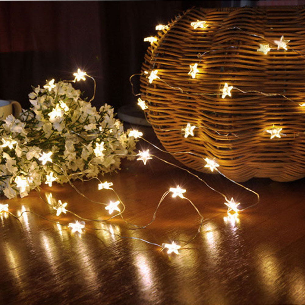 3M 30LED Stars String Lights Outdoor Garland Battery Powered LED Fairy Lights Holidays New Year Party Xmas Decor Light Chain J50