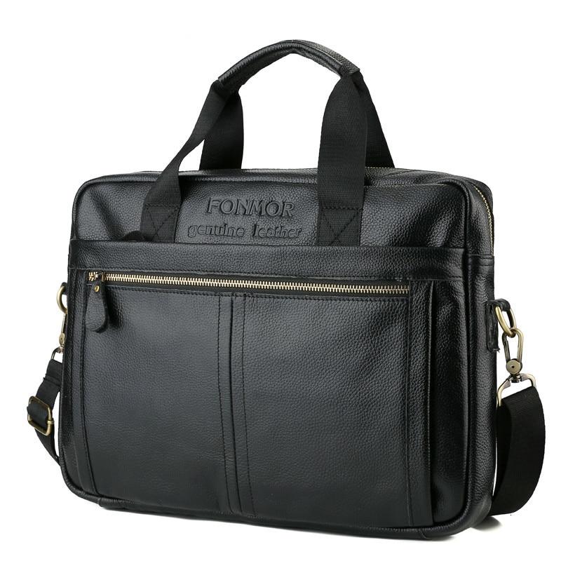 14 Inch Leather Men Briefcase Shoulder Messenger Bag Laptop For Men's Genuine Leather Business Handbag Black Casual Portafolio