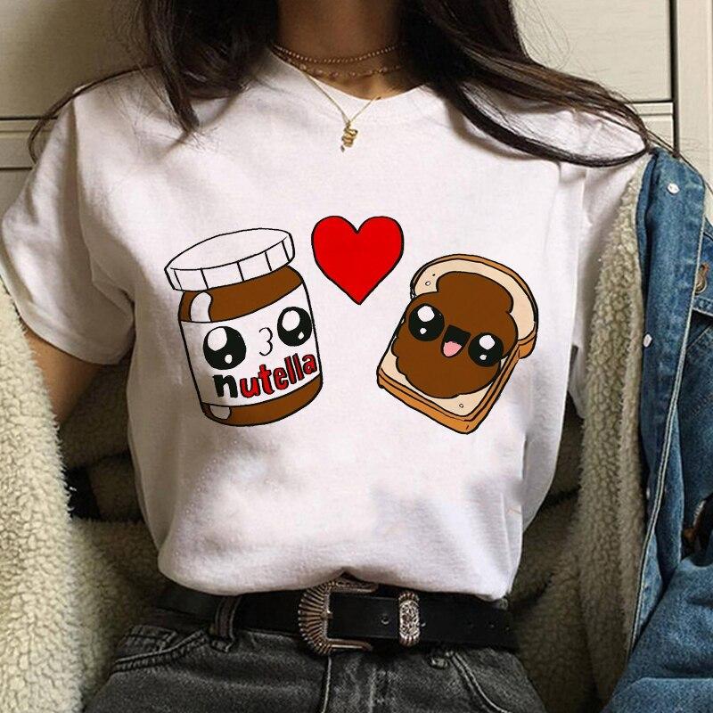 Maycaur Kawaii Nutella Print T Shirts Women Cartoon Lovely Tops Tee Fashion Graphic Printed Tshirt Streetwear Style Female Shirt