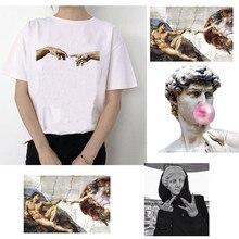 Michelangelo david mãos imprimir camiseta feminina tshirt femaale roupas estéticas harajuku ulzzang gráfico 90s verão topo