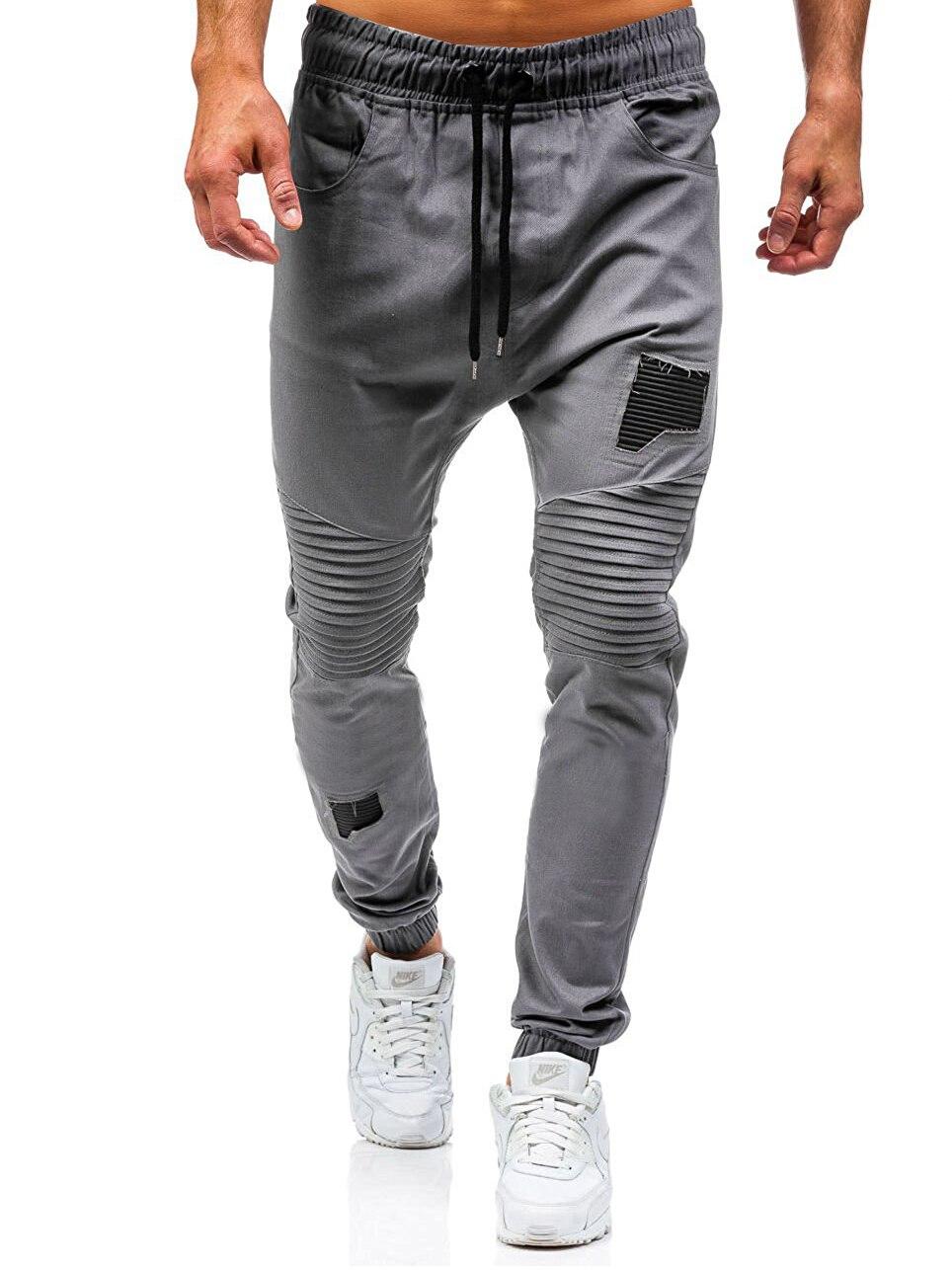 Men Sweatpants Casual Pants Slim fit Drawstring Sweatpants Slacks Elastic Waist Patchwork Pleated Ultrathin Male Trousers Jogger 21