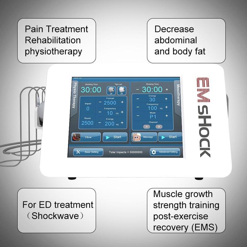 2020 neue Design Shock Welle Therapie Massager Maschine EMS + Schockwelle Therapie Physiotherapie für ED Behandlung Schönheit Maschine