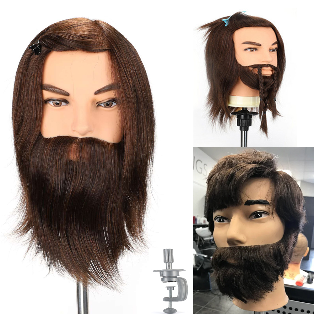 100% Real Human Hair Beard Training Practice Mannequin With Clamp Stand Hairdressing Doll Heads Salon Model Head Male