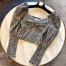 Women Plaid Blouse Summer Vintage Long Sleeve Blouse Fashion Lantern Sleeve Skinny Plaid Shirt Ladies Tops Blusas Cropped Top -