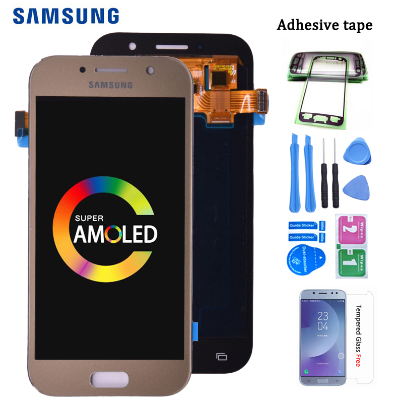 Super <font><b>AMOLED</b></font> LCD Replacement For <font><b>SAMSUNG</b></font> GALAXY A5 2017 Duos A520 <font><b>A520F</b></font> A520K LCD Display Touch Screen Digitizer Assembly image