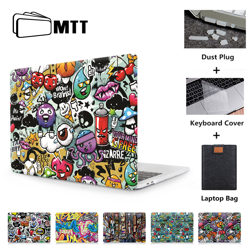 Mtt graffiti dos desenhos animados caso para macbook ar pro 11 12 13 15 16 polegada toque barra funda para mac livro pro 13 capa para portátil a2289 a2251
