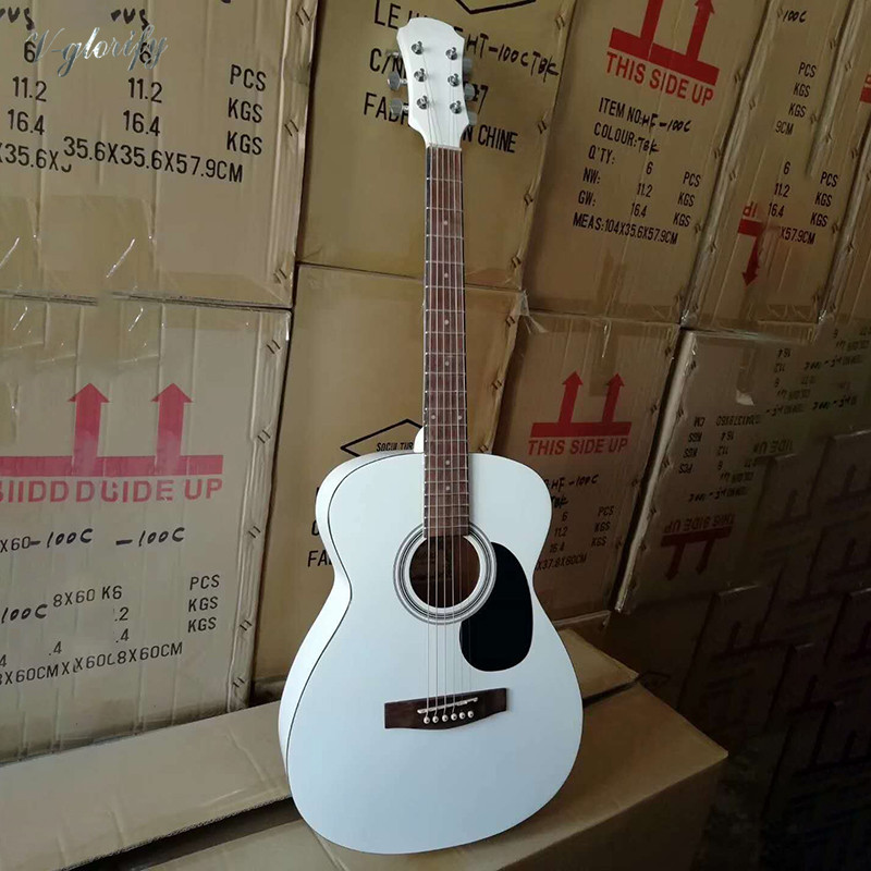 white color 40inch Acoustic guitar with Pre-Amp with Tuner with EQ title=