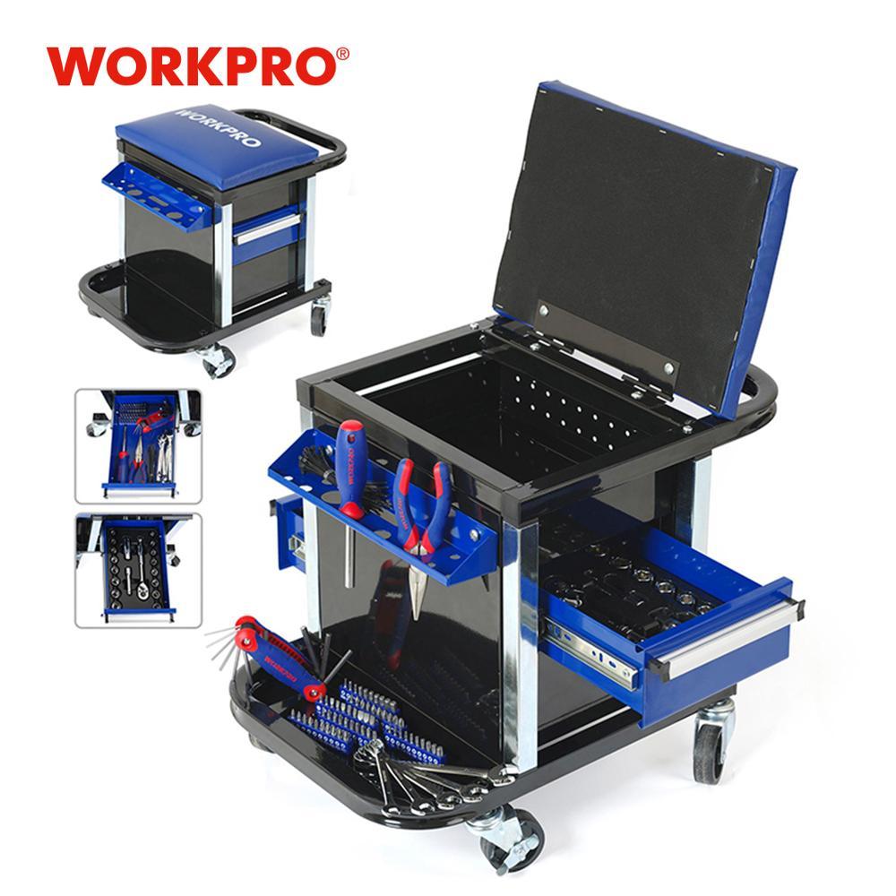 WORKPRO Set di strumenti per riparazione auto Set di strumenti Sgabello da lavoro Sedile da banco