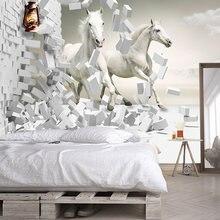 Пользовательские фото обои для стен 3d Белая лошадь креативное