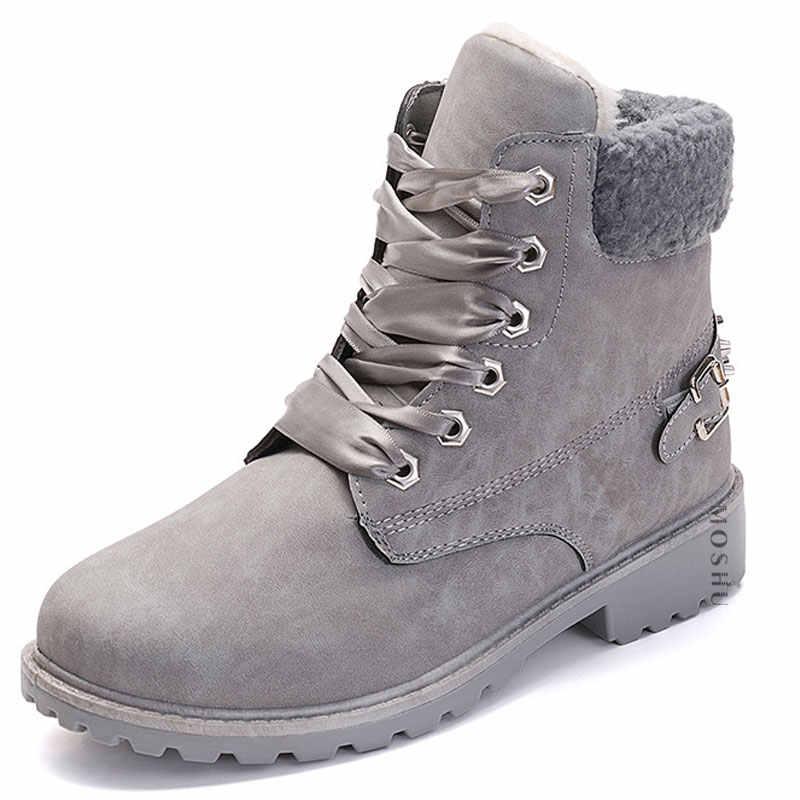 Yarım çizmeler kadınlar kış siyah kar botları sıcak PU deri Botines peluş Punk Platform çizmeler bayanlar su geçirmez spor ayakkabı