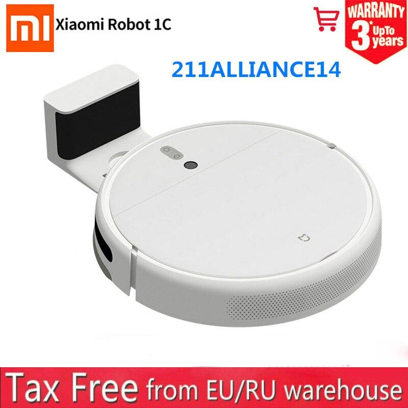 2021 подарок на Новый год Xiaomi Mijia 1C mi robot Vacuum Cleaner подметальная моющий резервуар для воды, Wi-Fi, 2500PA всасывания запланированные для очистки от пыл...