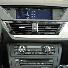 Pegatinas para Interior de coche, marco de ventilación, E84 X1 para BMW, para M Performance, fibra de carbono, consola Centrol, salida de Aire Acondicionado Delantero
